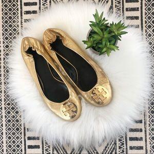 Tory Burch Reva Metallic Gold Ballet Flats